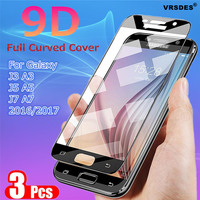 3/2/1PCS 9D de vidrio templado para Samsung Galaxy A3 A5 A7 J3 J5 J7 2016 2017 S7 A510 A520 J510 J330 J530 J730 UE protectora de vidrio