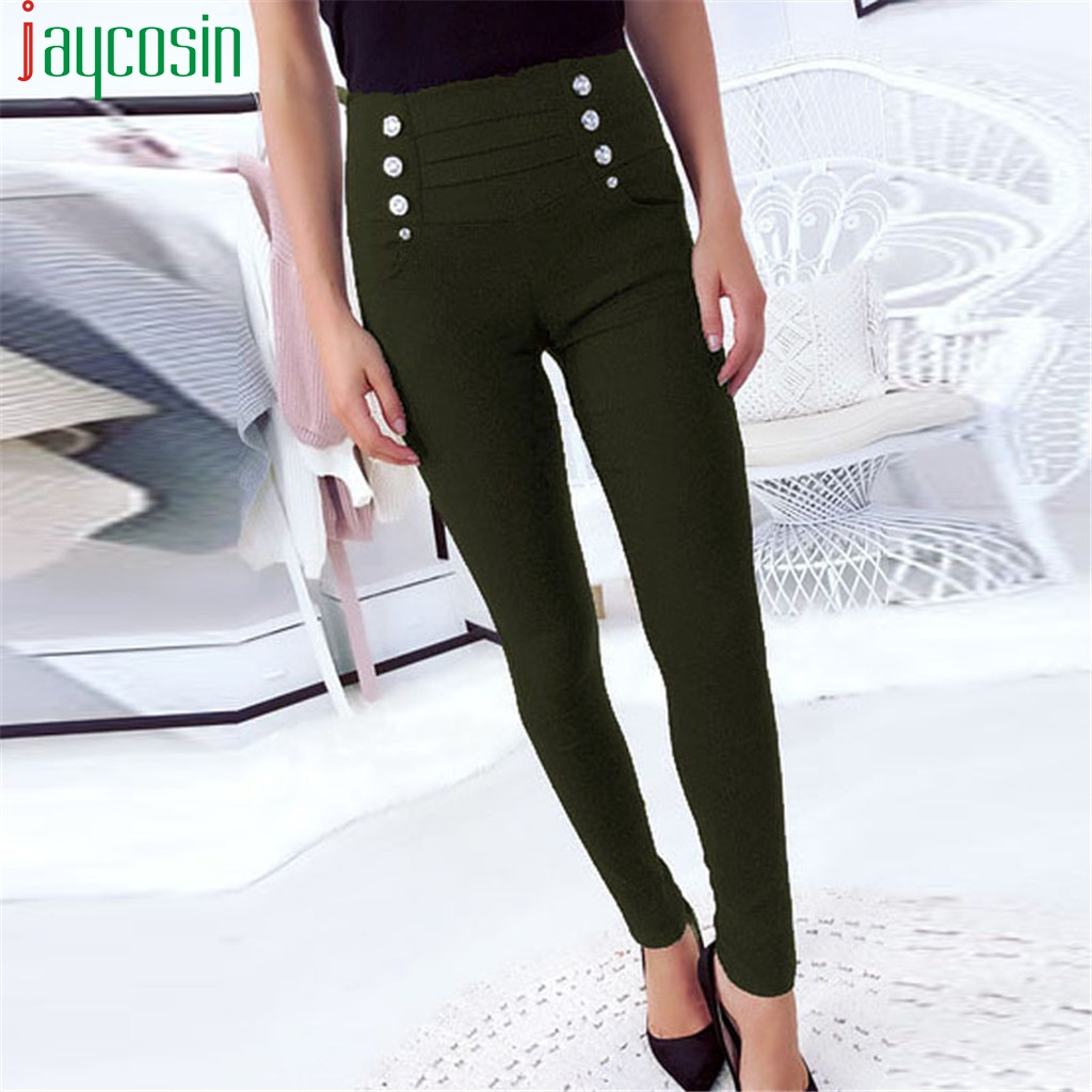 Women Pants Straight Slim High Waist Casual Pants Solid Color Button Office Plus Size Running Sports Pants Ladies Beach Pants
