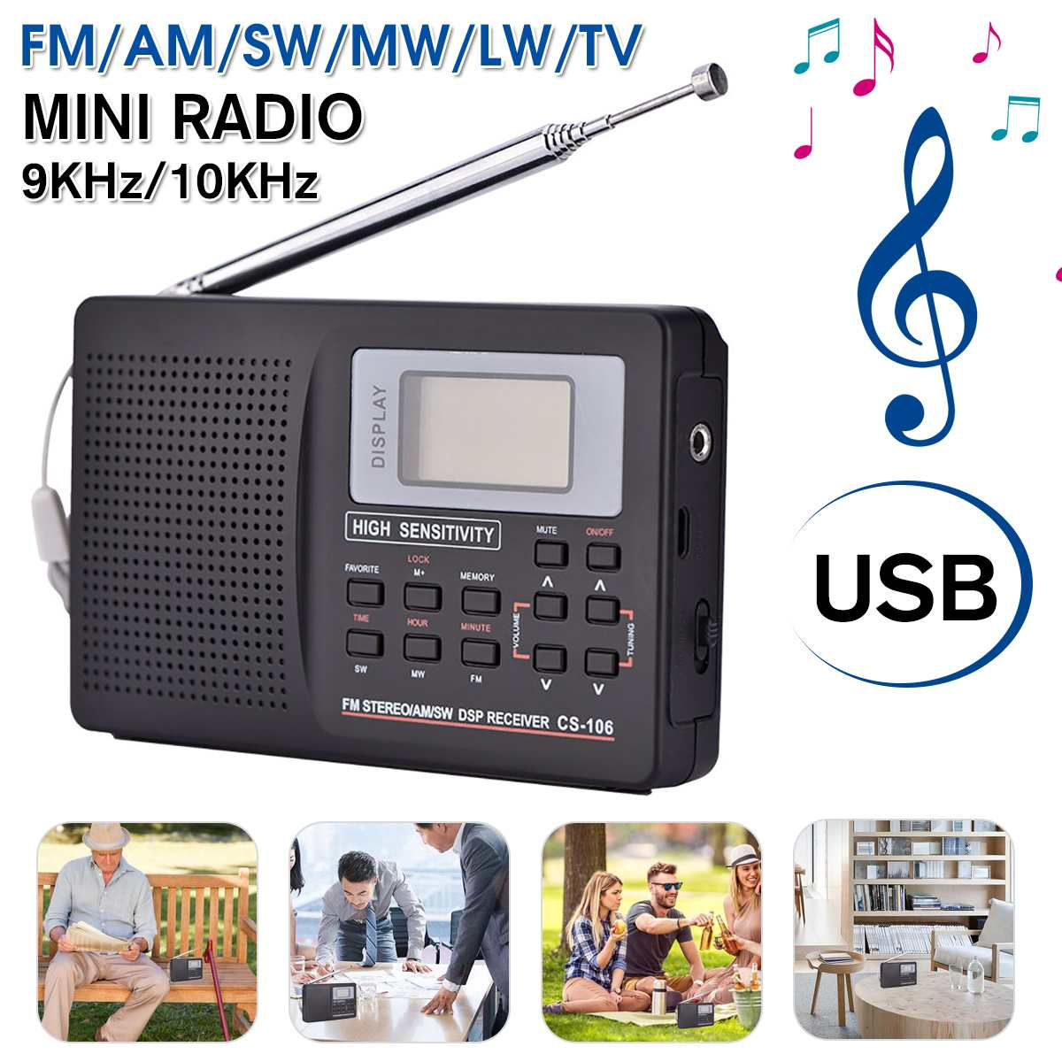 NEW Mini FM Radio Portable Radio Receiver Support AM/FM/SW/MW/LW Full Frequency Radio Receiver Support Alarm Clock for Elderly
