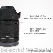 Lensi cilt çıkartması Wrap filmi koruyucu Sony FE 28 f2 FE 28mm Anti scratch çıkartma