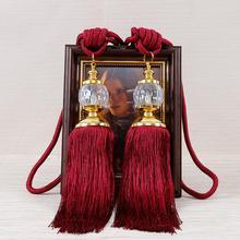1 par europeo Vintage Faux borlas de cristal flecos cortina cuerda de Tieback cortinas decoración cortinas Tieback/puerta/suspensión de pared