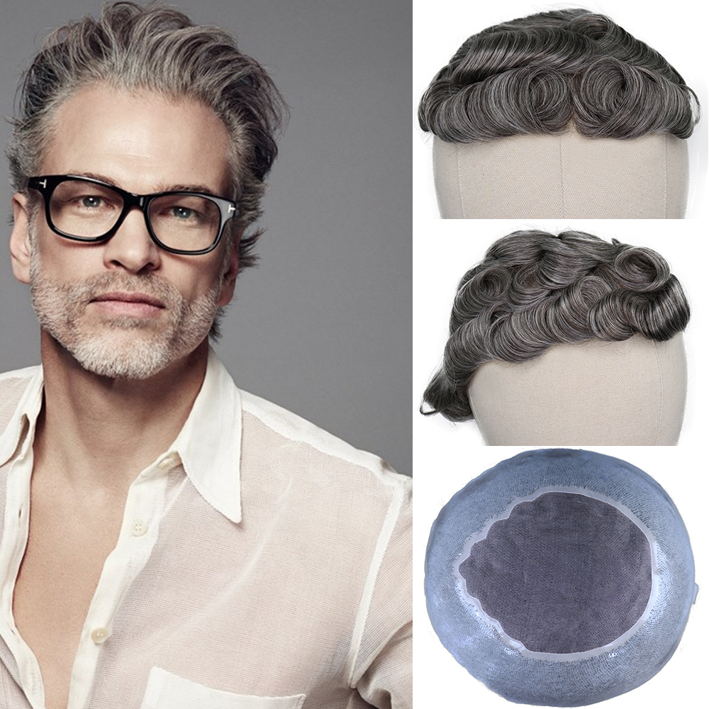 YY Wigs Dark Brown Mixed Grey Color Human Hair Toupee For Men Remy Human Hair Replacement System Men's Toupee 6 Inch Hair 8x10