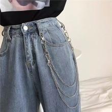 Punk Style Fashion Parts Unisex Hip-hop Metal  Cool Denim Phants Zipper Multilayer Belly Chain