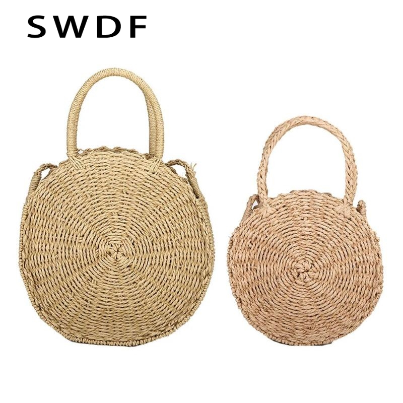 SWDF New Fashion Women Round Straw Bags Handmade Summer Hollow Beach Bag Messenger Crossbody Bags Lady High Quality Purse Sac