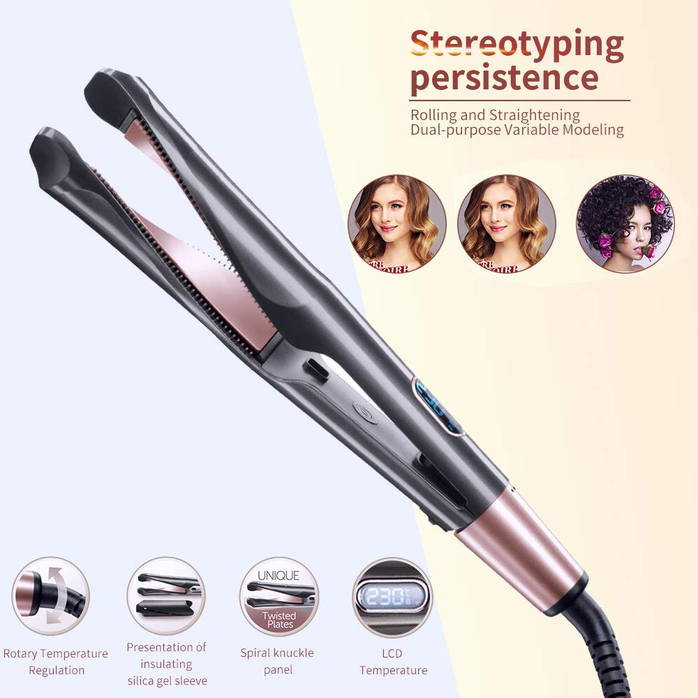 2-in-1 Hair Curler And Hair Straightener Flat Iron Perming&Straight Curl and Straight Confidence Beach Wave Curling Iron Wand