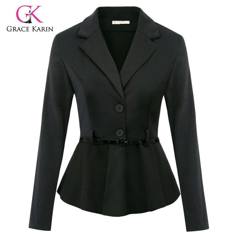 Grace Karin Blazer Feminino Long Sleeve Women Blazer Black Belt Decorated Blazer Mujer Outwear Office Lady Suit Jakcet Coat 2020