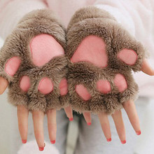 Women Cute Cat Claw Paw Gloves Plush Mittens Warm Soft Short Fingerless Fluffy Bear Cat Gloves Costume Half Finger Black Beige cheap Adult Unisex Polyester COTTON cartoon 2019 Wrist Fashion Polyester Cotton Full Finger China well package 1 pair gloves