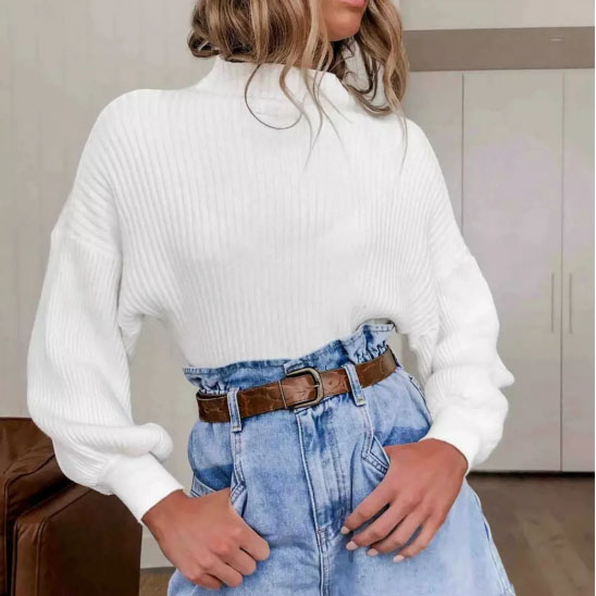 New Womens Long Sleeve Baggy Sweatshirts Pullover Tops Jumper Autumn Casual Knitwear White Tops