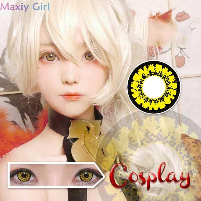 1 para umowy oczy fioletowe kolorowe piękno uczeń Cosplay soczewki kontaktowe kosmetyki na impreza z okazji Halloween oko miękkie szkło makijaż
