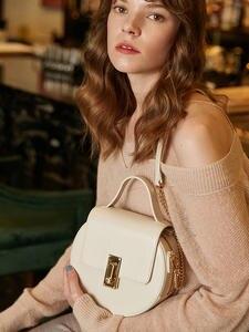 Chain-Strap Flap Top-Handle-Bags Crossbody-Bags Emini House Round-Shape Split Women Solid