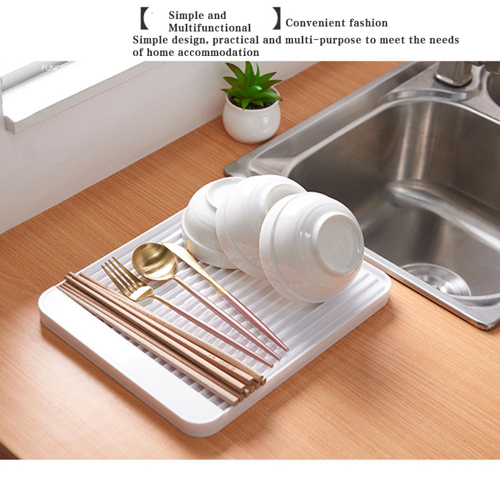plastic worktop dish drainer drip drain tray large kitchen sink drying rack storage holder save space with hanging hole