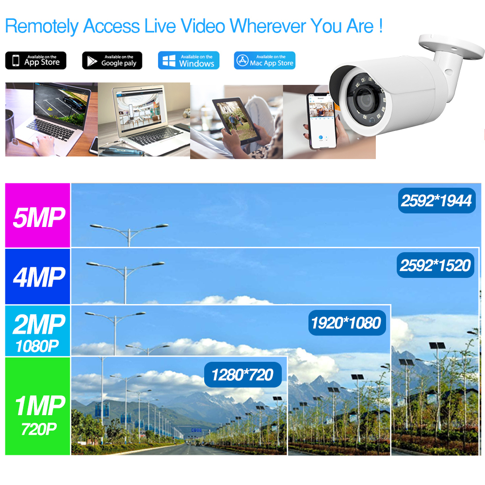 Image 5 - 4CH CCTV System 2+2 PCS Ultra 5MP Outdoor Security POE Camera & Hikvision 4 POE NVR DS 7604NI K1/4P DIY Video Surveillance Kits-in Surveillance System from Security & Protection