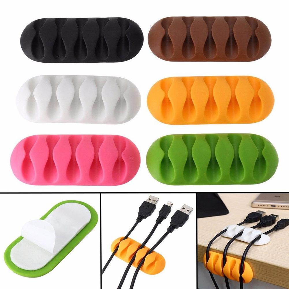 Silicone Self-adhesive 5-Slot Desktop Cable Wire Clip Cord Organizer Cable Holder Protector Device Organizer Plug Power  Winder