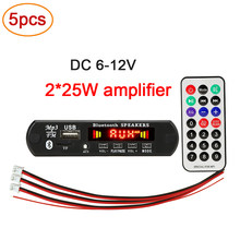 5 pçs/lote 2*25w 50 amplificador mp3 wma player decodificador placa 6v-18v bluetooth 5.0 player do carro fm módulo de rádio suporte tf usb aux