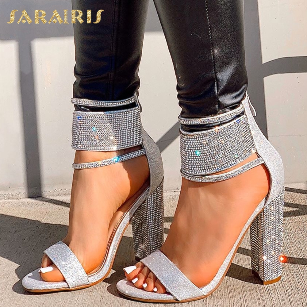 Sarairis Fashion 2020 Open Toe Chunky High Heels Gladiator Sandals Woman Shoes Zip Up Crystal Shoes Women Sandals Lady