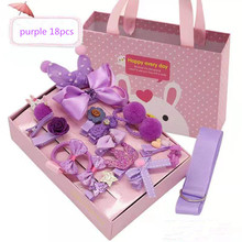 18 Pcs Princess Cute Hair Accessories Set Baby Girls Fabric Bow Flower Hairpins Clips Headdress with Luxurious Gift Box