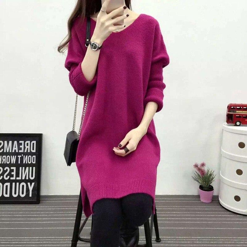 Women Loose Bat Long-Sleeve V Collar Bottom Side Slit Knit Sweater Autumn Winter Solid Color