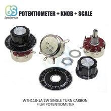 1K Ом WTH118 детали набора DIY 2W 1A одиночный поворотный потенциометр из углеродистой пленки+ ручка+ весы