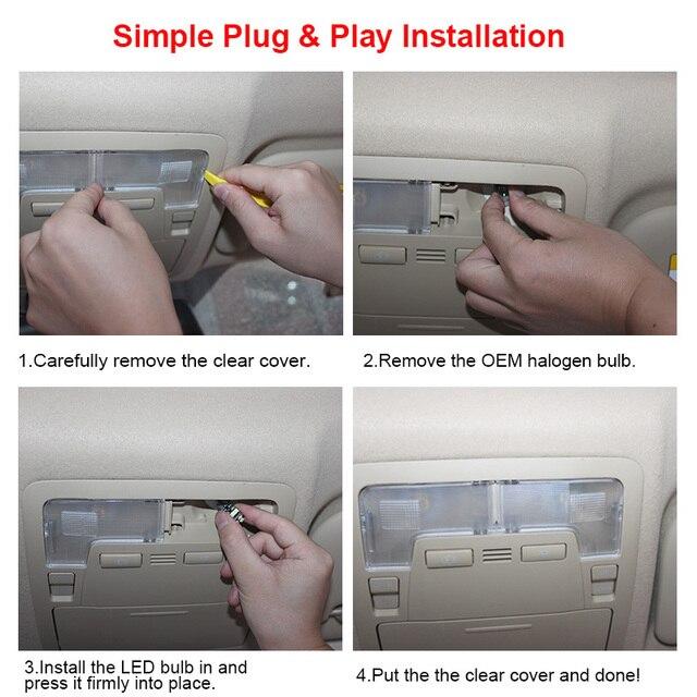 White Car Bulbs Canbus Error Free LED Interior Light Kit For 2011-2013 2014 2015 2016 2017 Chrysler 200 Map Dome License Lamp 6