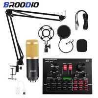Micrófono de condensador PARA Karaoke, estudio bm800, tarjeta de sonido, cambiador de voz, juegos de alimentación Phantom para ordenador