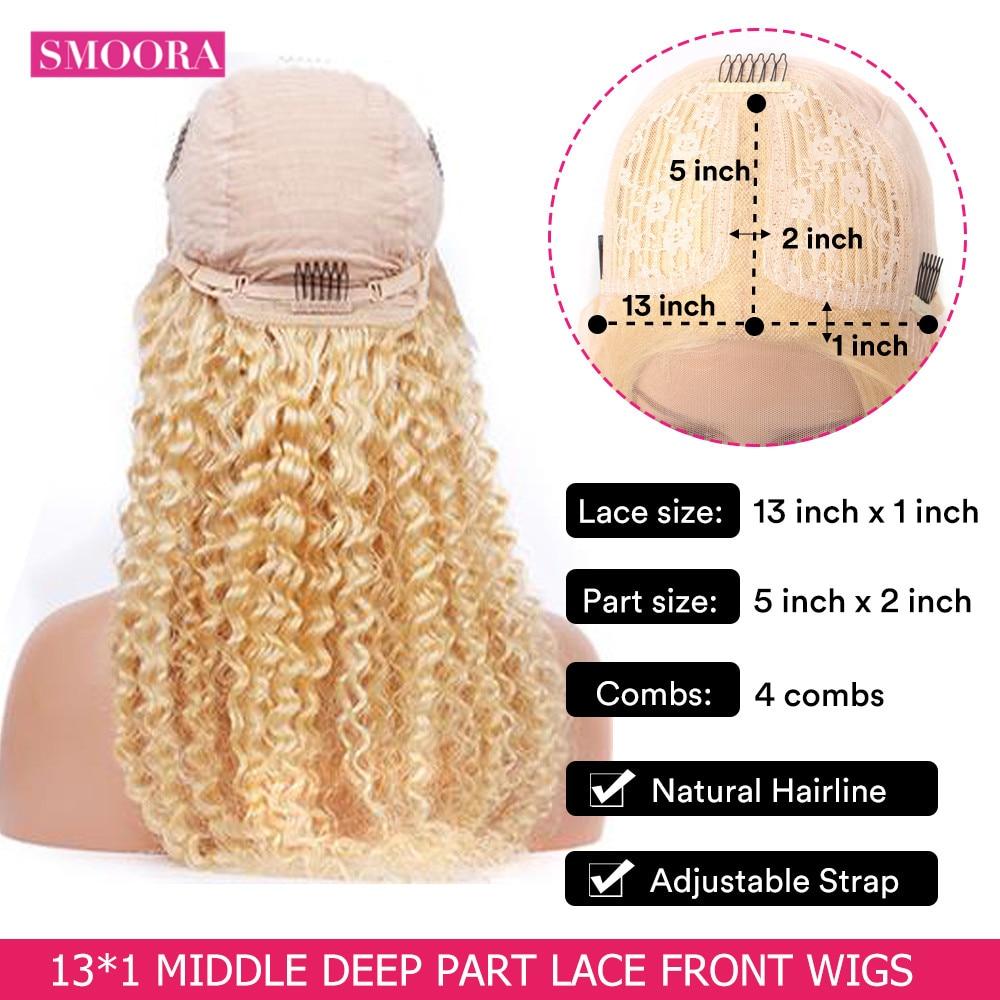 613 Deep Wave Lace Frontal Wigs   Glueless Deep Part 28 Inch Long Wigs 13*1 Light Blonde 150% 2
