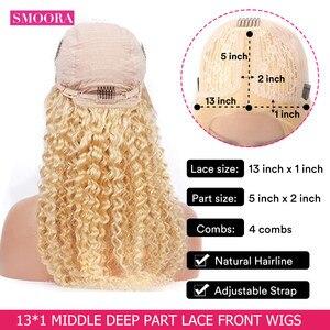 Image 2 - 613 Deep Wave Lace Frontal Wigs Brazilian Remy Human Hair Glueless Deep Part 28 Inch Long Wigs 13*1 Light Blonde 150%