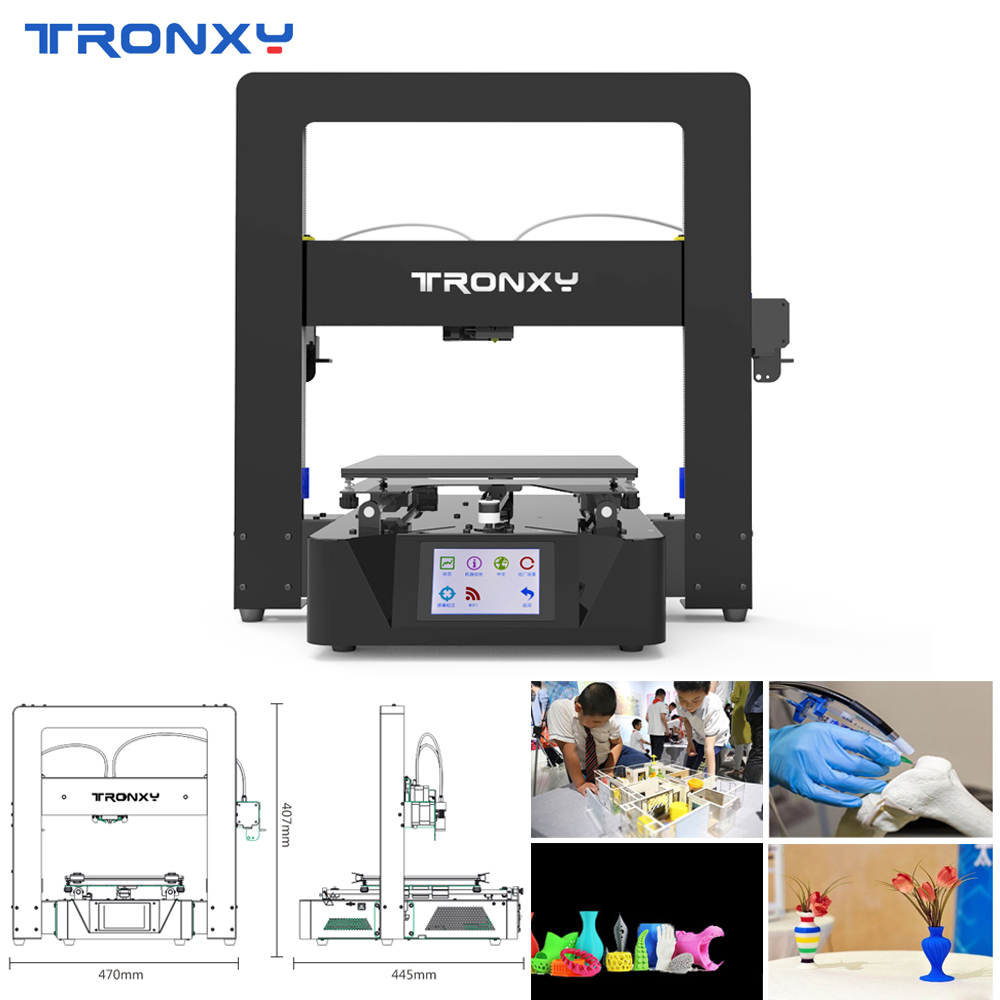 2019 Tronxy X6-2E Dual Color Printing 3D Printer With Power Resume Function 3.5inch Full Color TouchScreen Machine Lattice Glass image