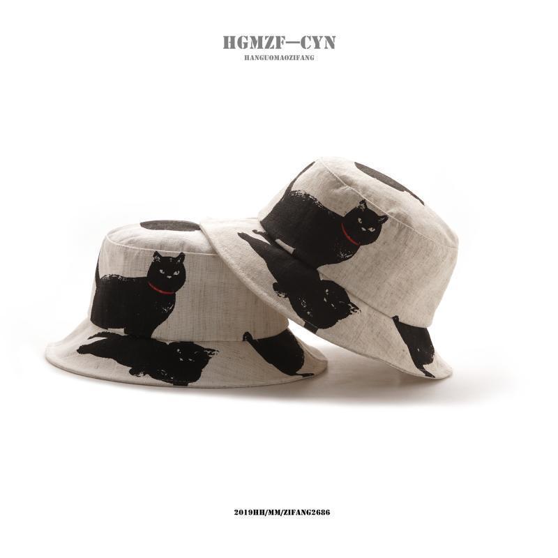 and summer outdoor leisure sun hat cute cat cotton hemp fisherman hat Korean version versatile printed basin hat man