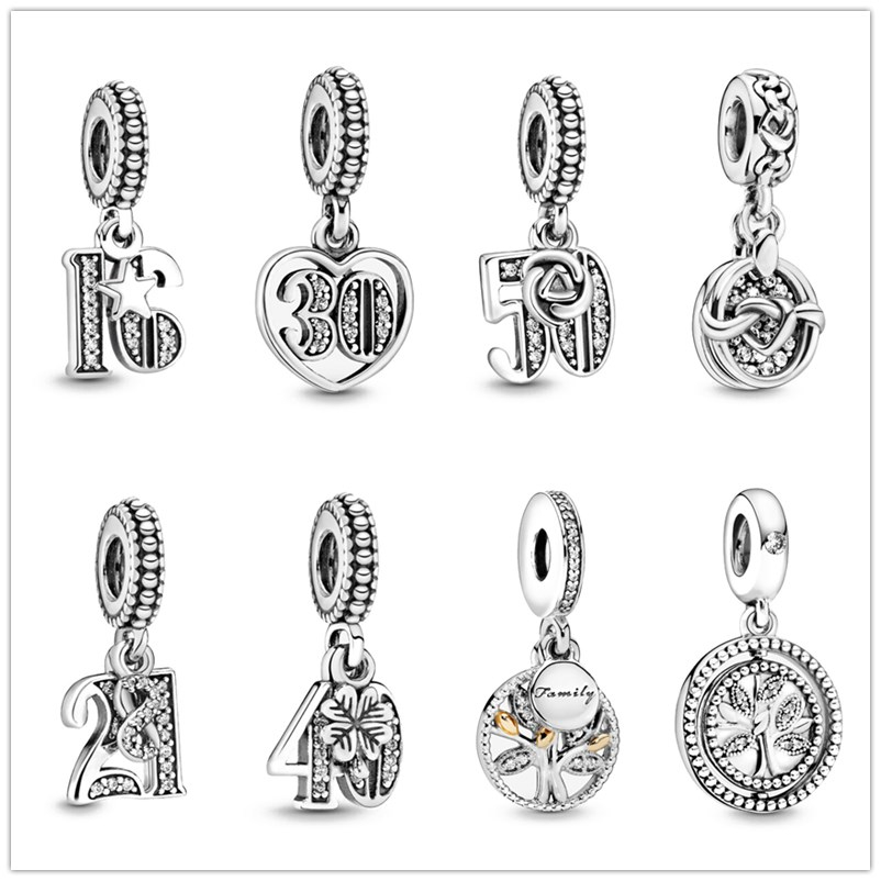 925 Sterling Silver Family life tree birthday Celebration Pendant DIY fine beads Fit Original Pandora Charm Bracelet Jewelry(China)