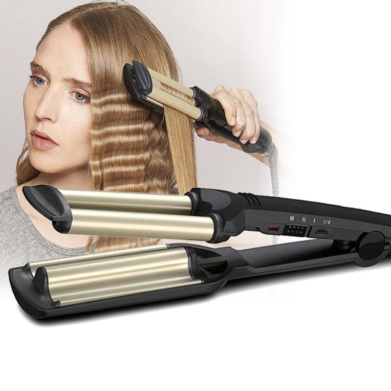 Kemei Hair Curler Professional 3 Barrels Big Wave Curling Iron Crimping Iron Fluffy Rollers Egg Rolls Hair Volume Styling Tools