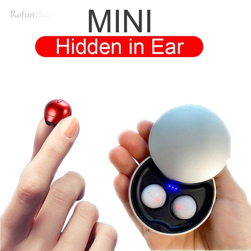 Миниатюрные невидимые беспроводные наушники Bluetooth, наушники-вкладыши, спортивные наушники с микрофоном, гарнитура для громкой связи, наушн...