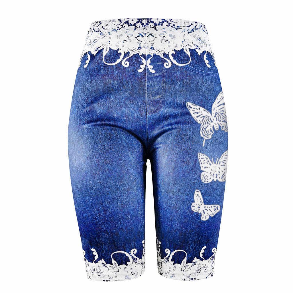 De Las Mujeres De Talla Grande Flaco Mariposa Pantalones Cortos Casual Impresion Jeggings De Shorts Vaqueros Denim De Costura De Encaje Denim Medias 18p3 Pantalones Cortos Aliexpress