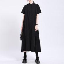 [Eam] 女性アーミーグリーンプリーツロングドレス新スタンドカラー半袖ルーズフィットファッション潮春夏2021 1W19