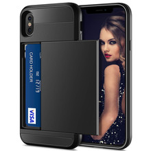 Luxury Slider Card Holder Wallet Phone Case For iphone 7 6S 6 8 Plus Hybrid Shockproof Armor Case for iphone X XS Max XR 5 5S SE цена и фото