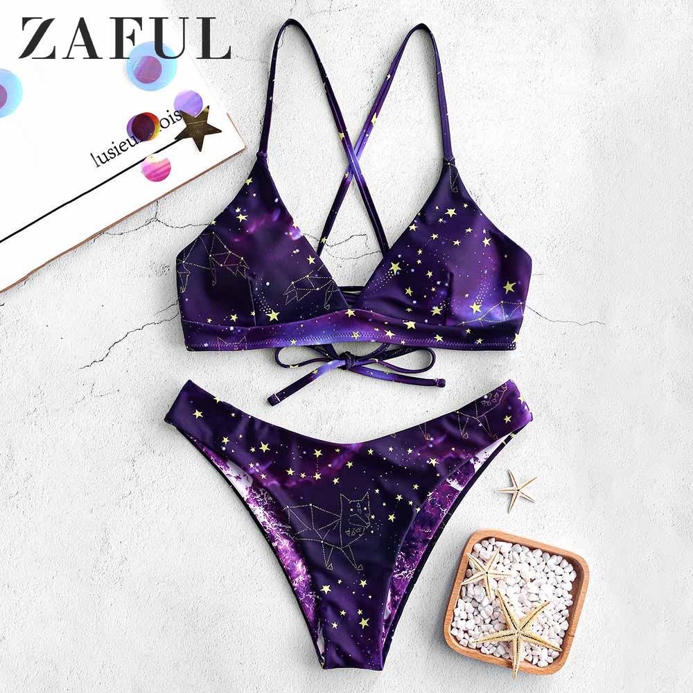 ZAFUL Bikini Galaxy Print Lace-Up Reversible Bikini Set Spaghetti Straps Criss-Cross Swim Suit Wire Free Padded Swimwear 2019