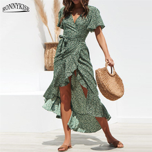 RONNYKISE Chiffon Floral Printed Long Dresses Womens Fashion High Waist Lace Up Bandage Ladies Sexy Bodycon