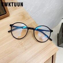 Vwktuun tr frame óculos redondos quadro feminino óculos ópticos óculos de computador vintage retro anti azul óculos de luz