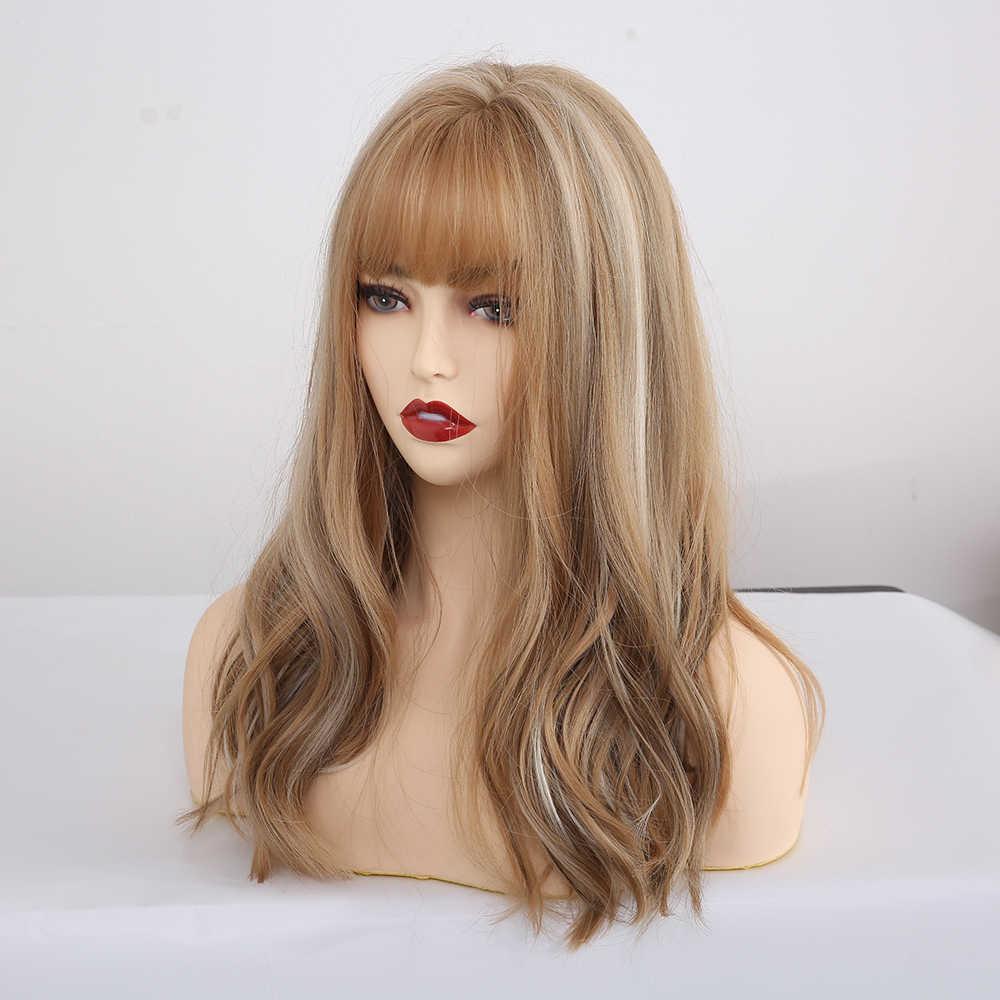 Lange Synthetische Perücken Mit Pony Gemischt Blonde Braun Natürliche Welle Perücken Für Weiße Frauen Cosplay Perücken Hitze Beständig Faser Perücken