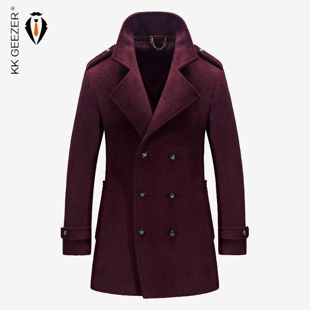 מעיל גברים צמר חורף מעילי גברים ומעילים מותג מפורסם מזדמן באיכות גבוהה זכר Parka פלנל אופנה צמר עסקי בריטי ארוך מעיל אפונה קשמיר מעיל חתונה