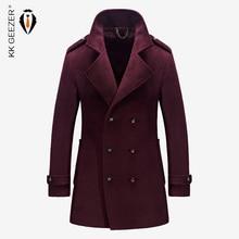 Erkek Ceket Kış Yün Erkek Ceket ve Mont Ünlü Marka Rahat Yüksek kalite Erkek Parka Pazen Moda Yün İngiliz Iş Uzun Kaşmir Bezelye Ceket Düğün Palto