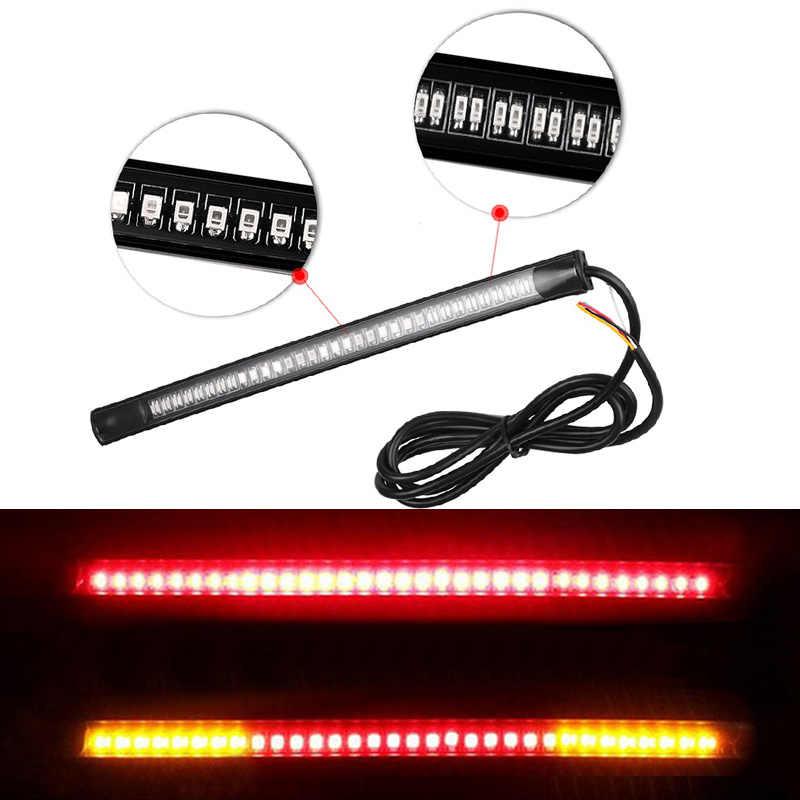 Гибкий 48-светодиодная лампа для мотоцикла бар для задней части автомобиля тормозной Стоп-сигнал для поворота огни фонарь освещения номерного знака два Цвет Автомобильный свет
