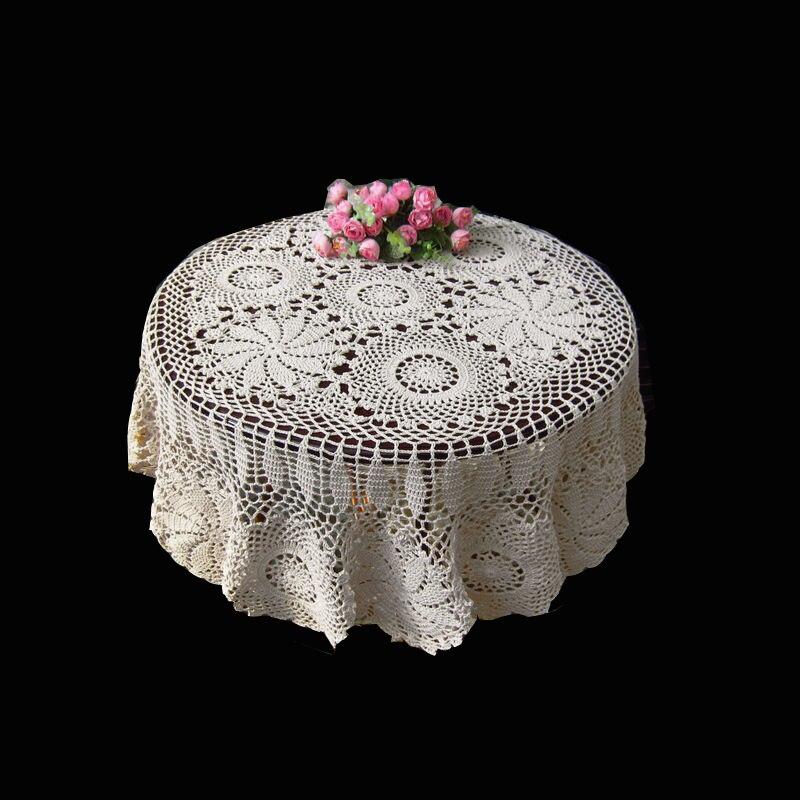 127cm forme ronde fait à la main Crochet Vintage tricot rétro décoratif Crochet gravure fleur tissé/tricoté nappe ronde