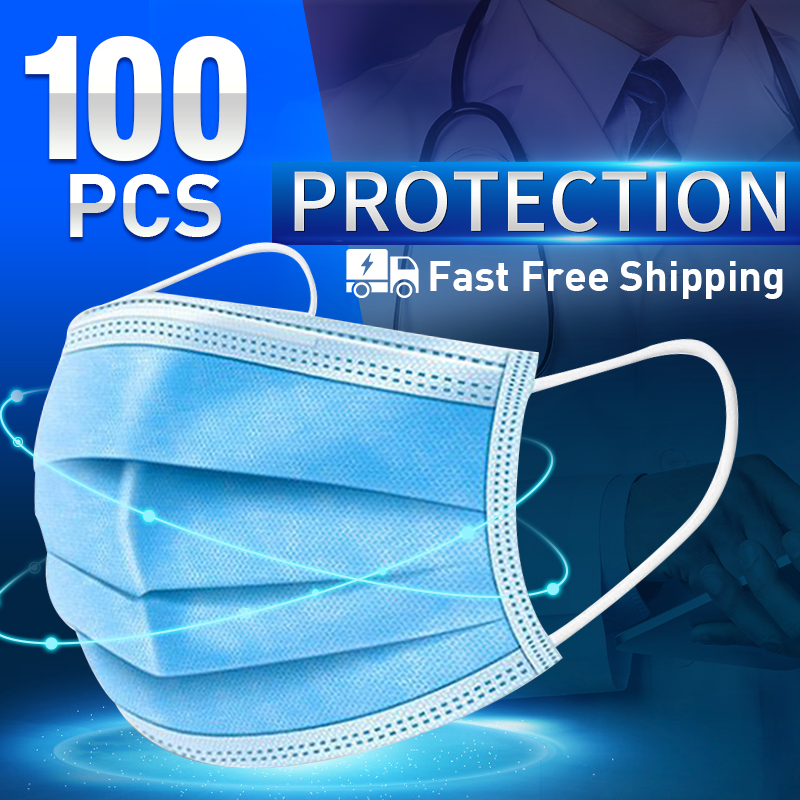 100pcs 3 Layers Disposable Protective Mask Dust Filter Mask For Adult Masck Blue Respirator Breathable Face Masks Mascarillas