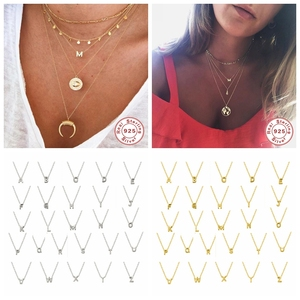 925 Sterling Silver Initial Letter Pendant Necklaces For Woman Daughter A-Z Alphabet Collares Mujer Fine Jewelry Christmas Gifts