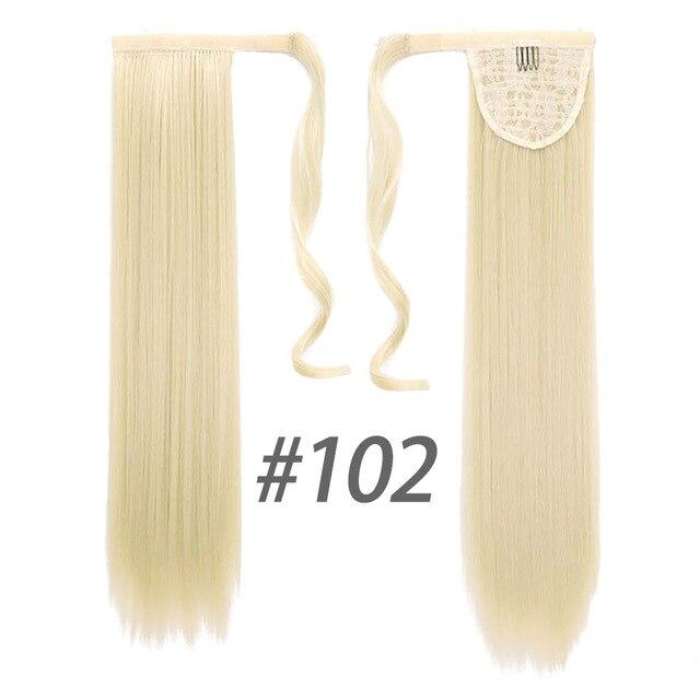 HOUYAN 24 дюймов длинные толстые прямые волосы кудрявые волосы синтетические волокна конский хвост обернутый парик длинный парик конский хвост парик - Цвет: 102