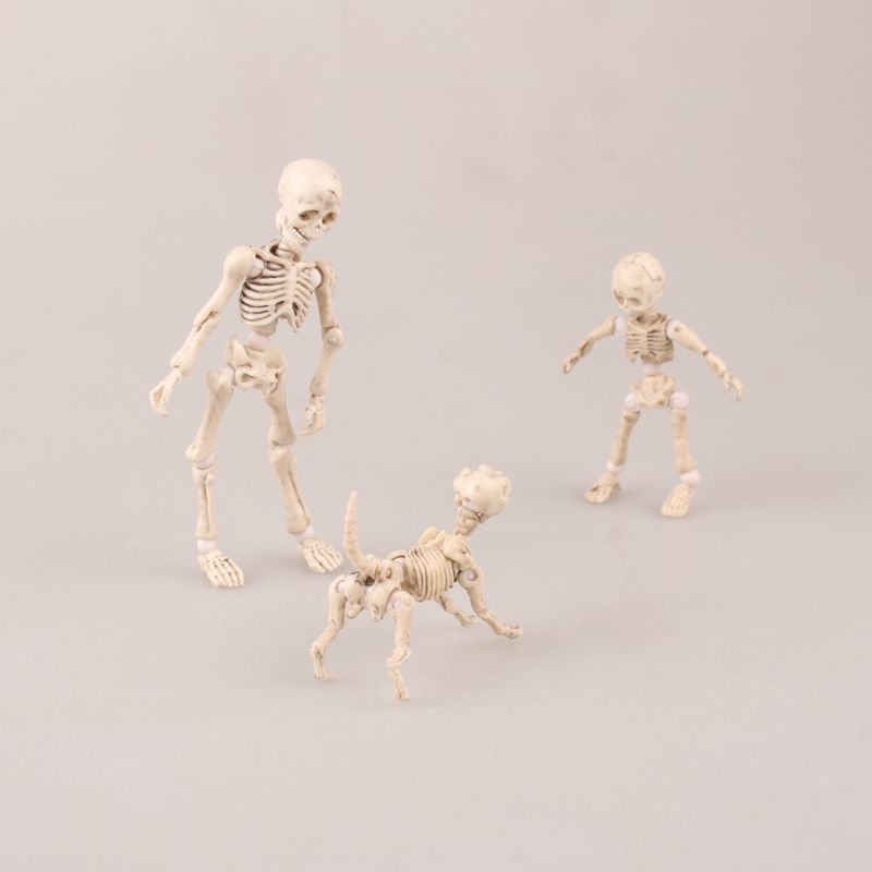 Cute Fashion design Mr. Bones <font><b>Pose</b></font> <font><b>Skeleton</b></font> human <font><b>skeleton</b></font> model with dog table desk book mini figure kids toys collectible gift image