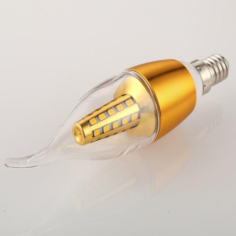yanghang led e14 lampada 220 v 5 w 7 9 ouro prata aluminio vela lampada luz