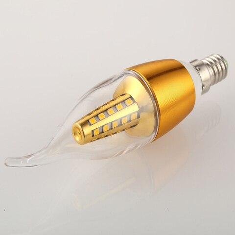 yanghang led e14 lampada 220 v 5 w 7 9 ouro prata aluminio vela lampada