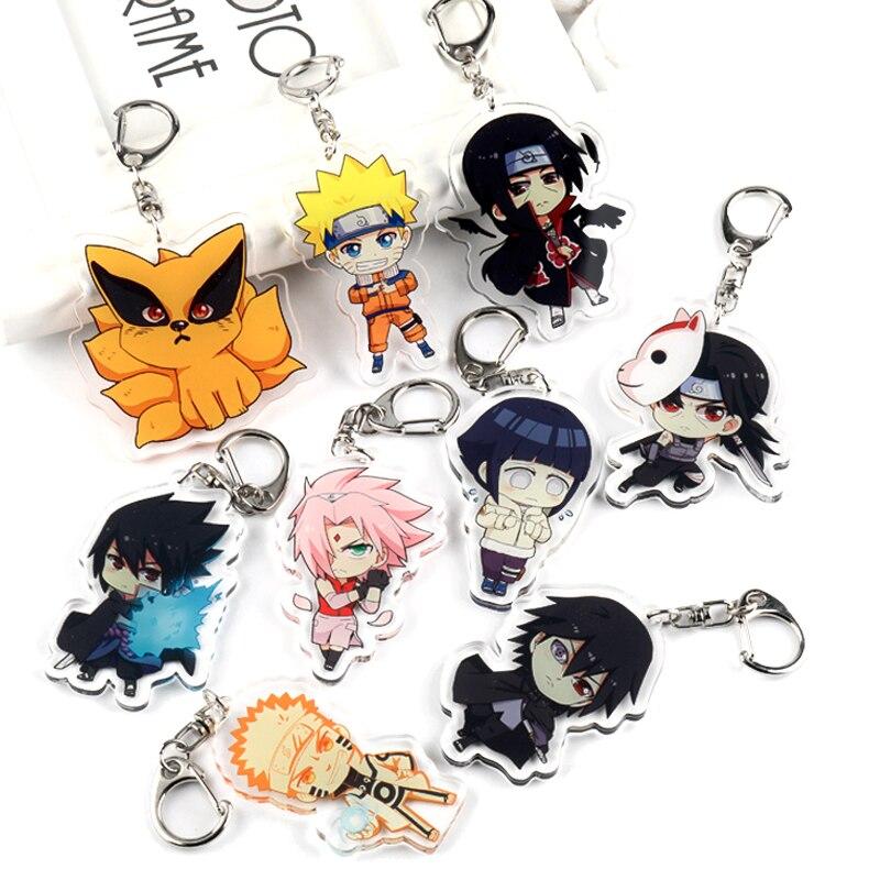 Double Side Acrylic Keychain PVC Kurama/Haruno Sakura /Uchiha Itachi Pendant Keyrings Bags Car Key Chain Jewelry  llaveros Gift