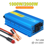 Car Pure Sine Wave Inverter 2000W Peak DC 12V to AC 220V Voltage Transfer Charging Adapter Universal Socket Auto Accessories